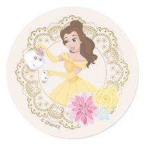 Princess Belle   Floral Gold Confetti Classic Round Sticker
