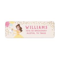 Princess Belle   Floral Gold Confetti Label