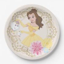 Princess Belle   Floral Gold Confetti Paper Plate