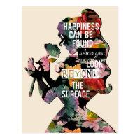 Princess | Belle Floral Silhouette Postcard