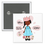 Princess Big Sister African American 2 Inch Square Button