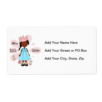 Princess Big Sister African American Shipping Label
