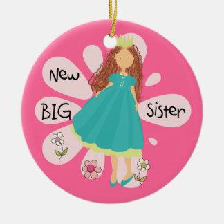 Princess Big Sister Brown Hair Ceramic Ornament
