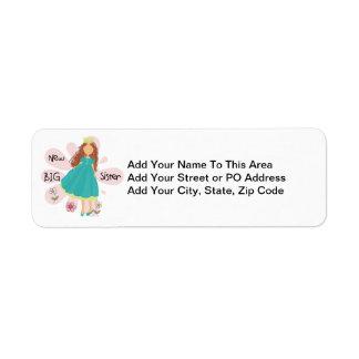 Princess Big Sister Brown Hair Label