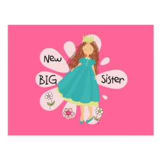 Princess Big Sister Brown Hair Postcard