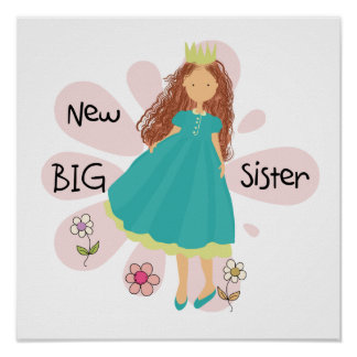 Princess Big Sister Brown Hair Poster