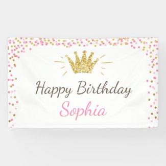 Princess birthday banner Royal Pink and Gold Girl