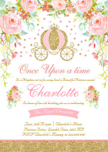 Princess Birthday Invitation Gold Party