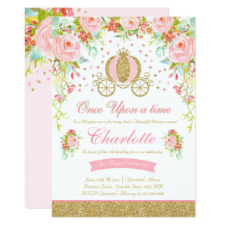 Princess birthday invitations announcements zazzle princess birthday invitation gold princess party stopboris Image collections