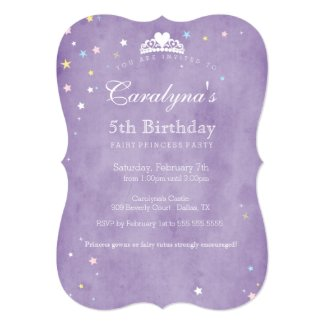 Princess Birthday Invitation Purple Fairy Dust