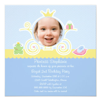 Princess birthday party carriage photo invitation