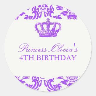 Princess Birthday Party Classic Round Sticker