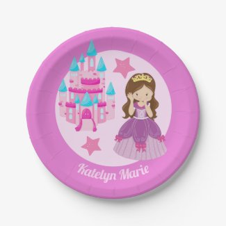 Princess Birthday Party Cute Childrens Pink Custom Paper Plate