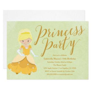 Princess Birthday Party Invitation - Blonde/Gold
