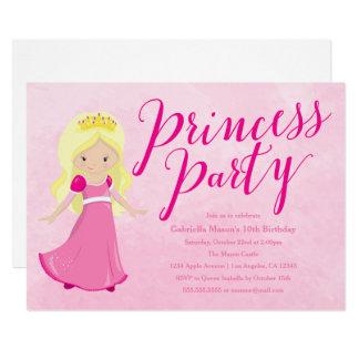 Princess Birthday Party Invitation - Blonde/Pink