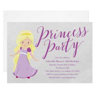Princess Birthday Party Invitation - Blonde/Purple