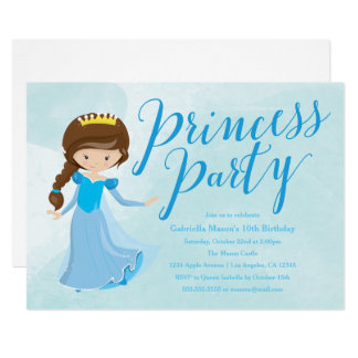 Princess Birthday Party Invitation - Brunette/Blue