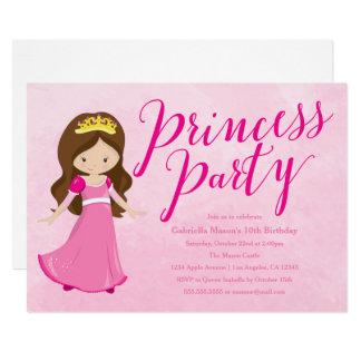 Princess Birthday Party Invitation - Brunette/Pink