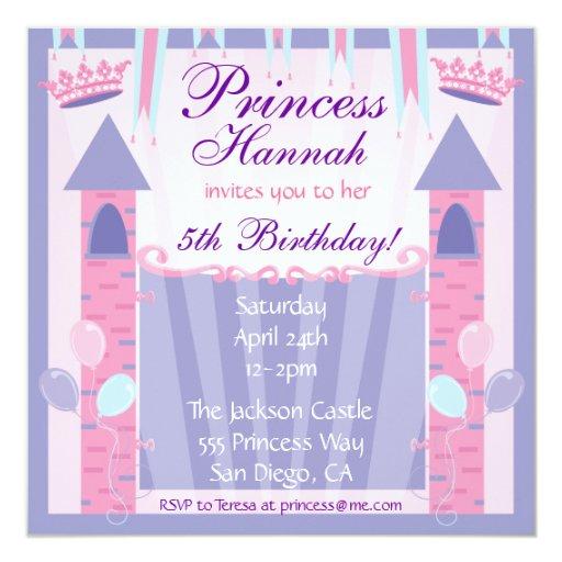 Princess Birthday Party Invitation Castle