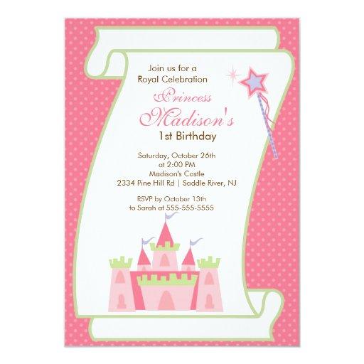 "Princess Birthday Party Invitation Elegant Pink 5"" X 7"" Invitation Card"
