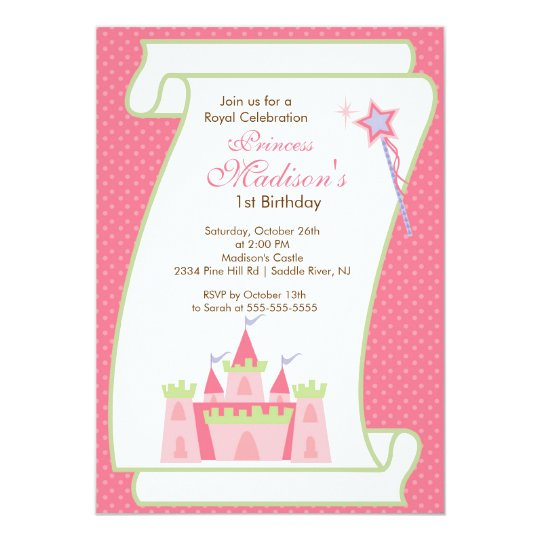 Princess Birthday Party Invitation Elegant Pink