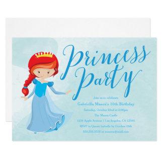 Princess Birthday Party Invitation - Redhead/Blue
