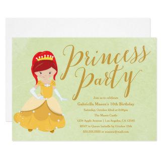 Princess Birthday Party Invitation - Redhead/Gold
