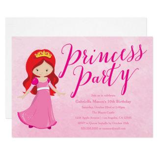 Princess Birthday Party Invitation - Redhead/Pink