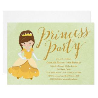 Princess Birthday Party Invite - Brunette/Gold