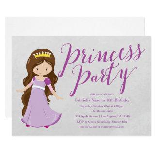 Princess Birthday Party Invite - Brunette/Purple