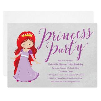 Princess Birthday Party Invite - Redhead/Purple