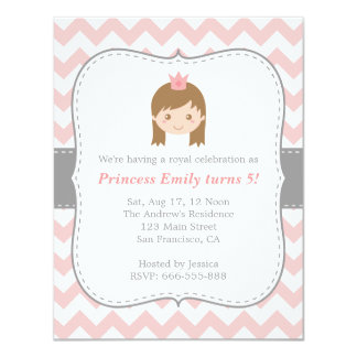 Princess Birthday Party, Pink and White Chevron Card