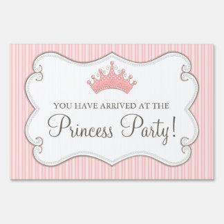 Princess Birthday Party Pink Crown Yard Sign