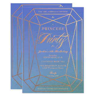 Princess Birthday Party Rose Gold Jewel Card