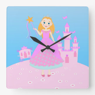 Princess Birthday Party Square Wall Clock