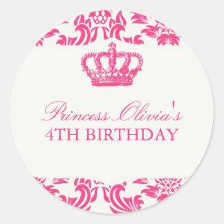 Princess Birthday Party Round Stickers