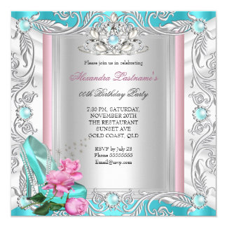"Princess Birthday Party Teal Pink Rose High Heels 5.25"" Square Invitation Card"