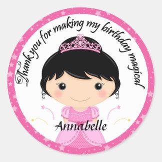 Princess Birthday Party Thank You Classic Round Sticker