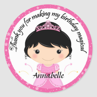 Princess Birthday Party Thank You Round Stickers