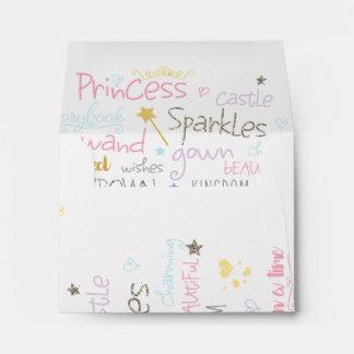 PRINCESS Birthday Party Words Invitation Envelope
