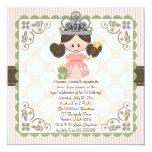 """Princess Birthday Photo Invitations Card Brunette 5.25"""" Square Invitation Card"""
