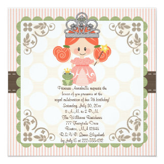 Princess Birthday Photo Invitations Red Head