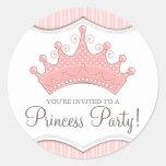 Princess Birthday Pink Crown Invitation Sticker
