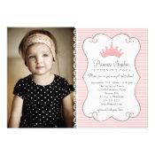 Princess Birthday Pink Crown Photo Invitation