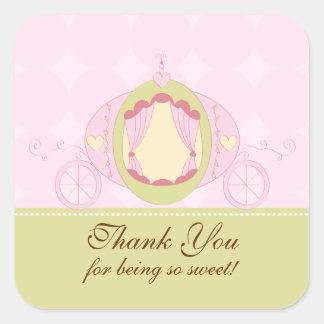 Princess Birthday Square Sticker Thank You