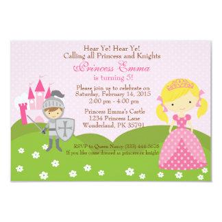 Princess (blond) and Knight birthday invitation