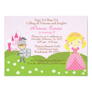 Princess (blond) and Knight birthday invitation