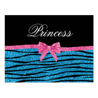 Princess blue glitter zebra stripes pink bow postcards