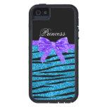 Princess blue glitter zebra stripes purple bow cover for iPhone 5