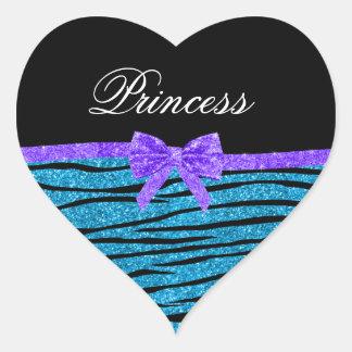 Princess blue glitter zebra stripes purple bow heart sticker